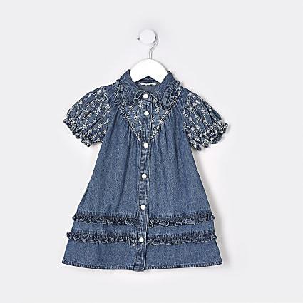 Mini girls blue denim broidery dress