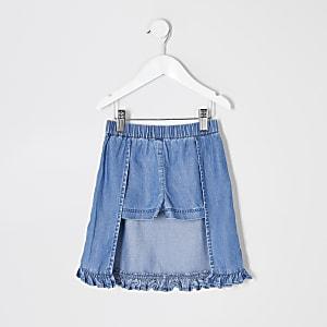 Mini - Blauwe denim jurk met ruches voor meisjes