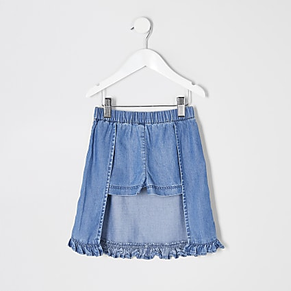 Mini girls blue denim frill skort