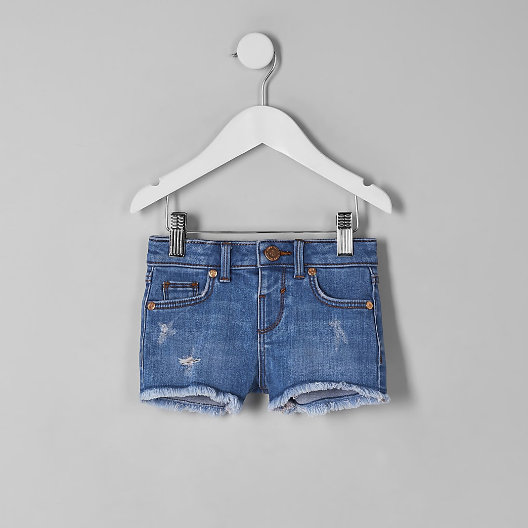 Mini girls blue denim shorts