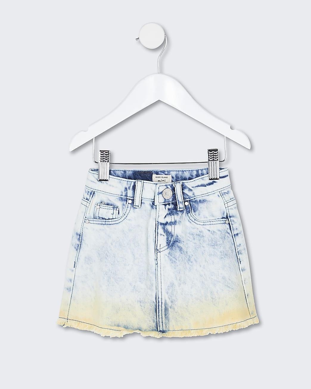 Mini girls blue dip dye skirt