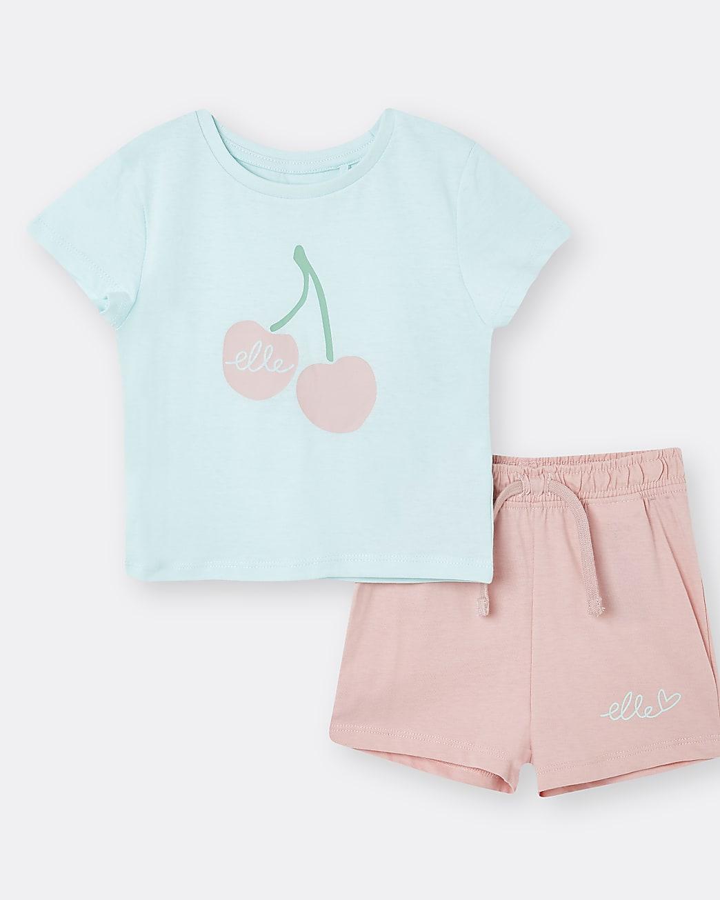 Mini girls blue ELLE t-shirt outfit