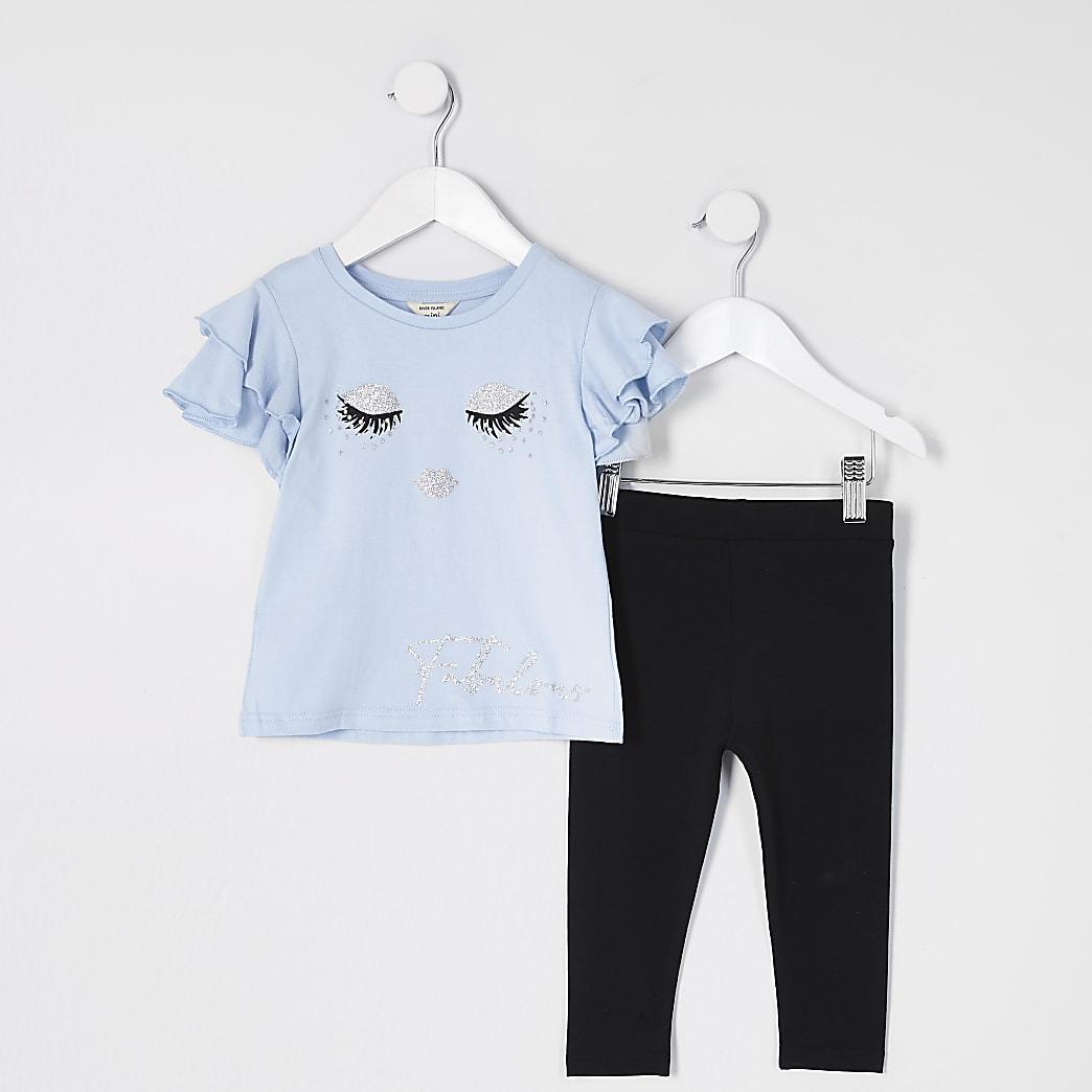 Mini girls blue eyelash t-shirt outfit