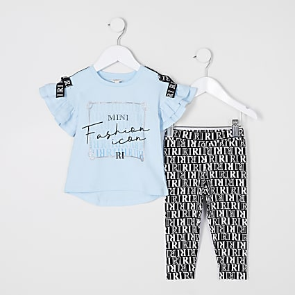 Mini girls blue 'Fashion icon' legging outfit