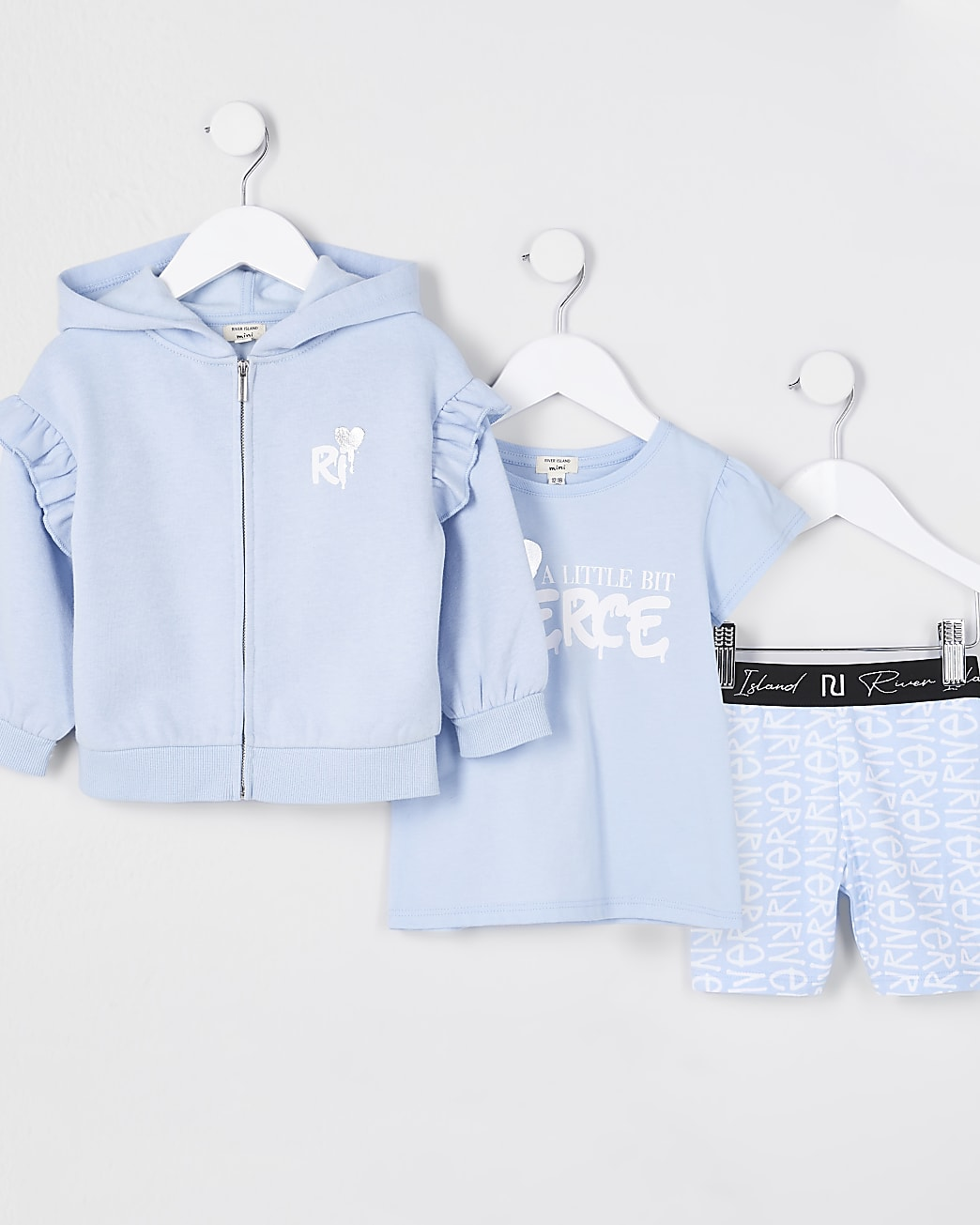 Mini girls blue 'Fierce' 3 piece outfit
