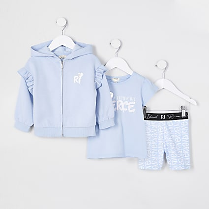 Mini girls blue 'Fierce' 3 piece outfit