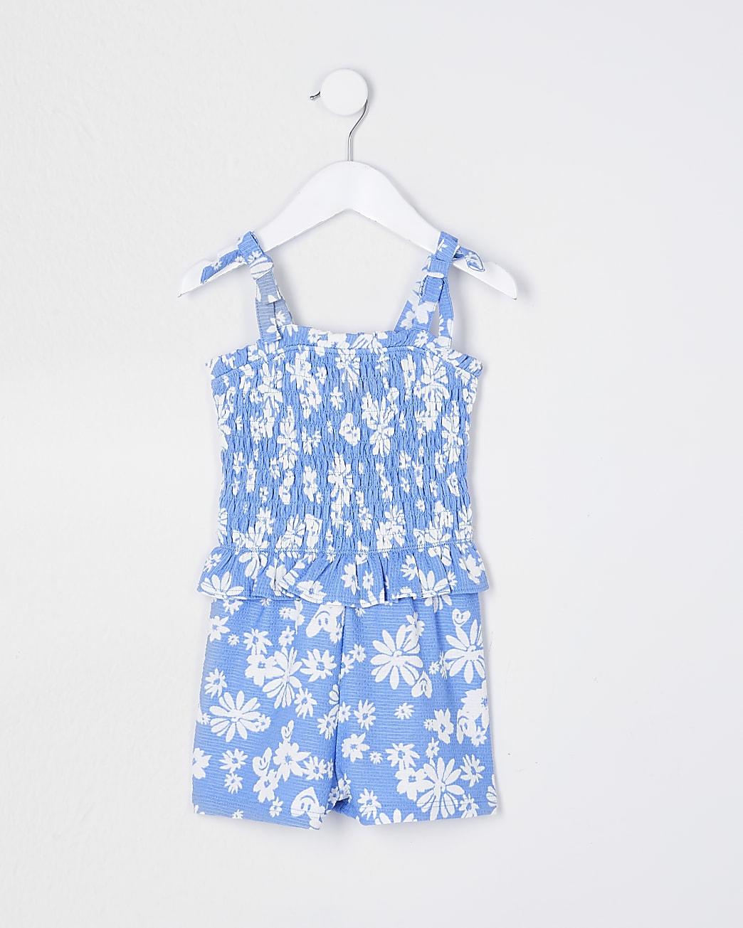 Mini girls blue floral playsuit