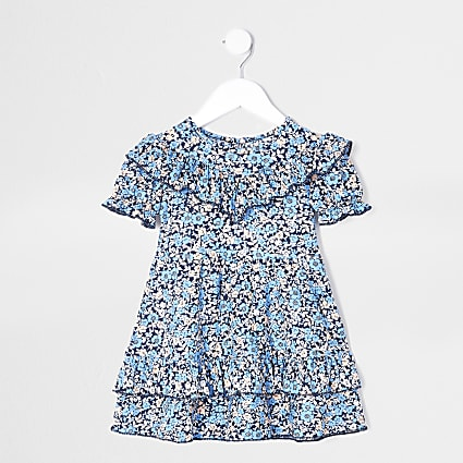 Mini girls blue floral print frill dress