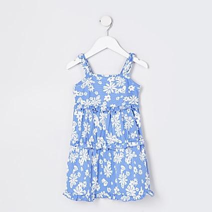 Mini girls blue floral tiered cami dress