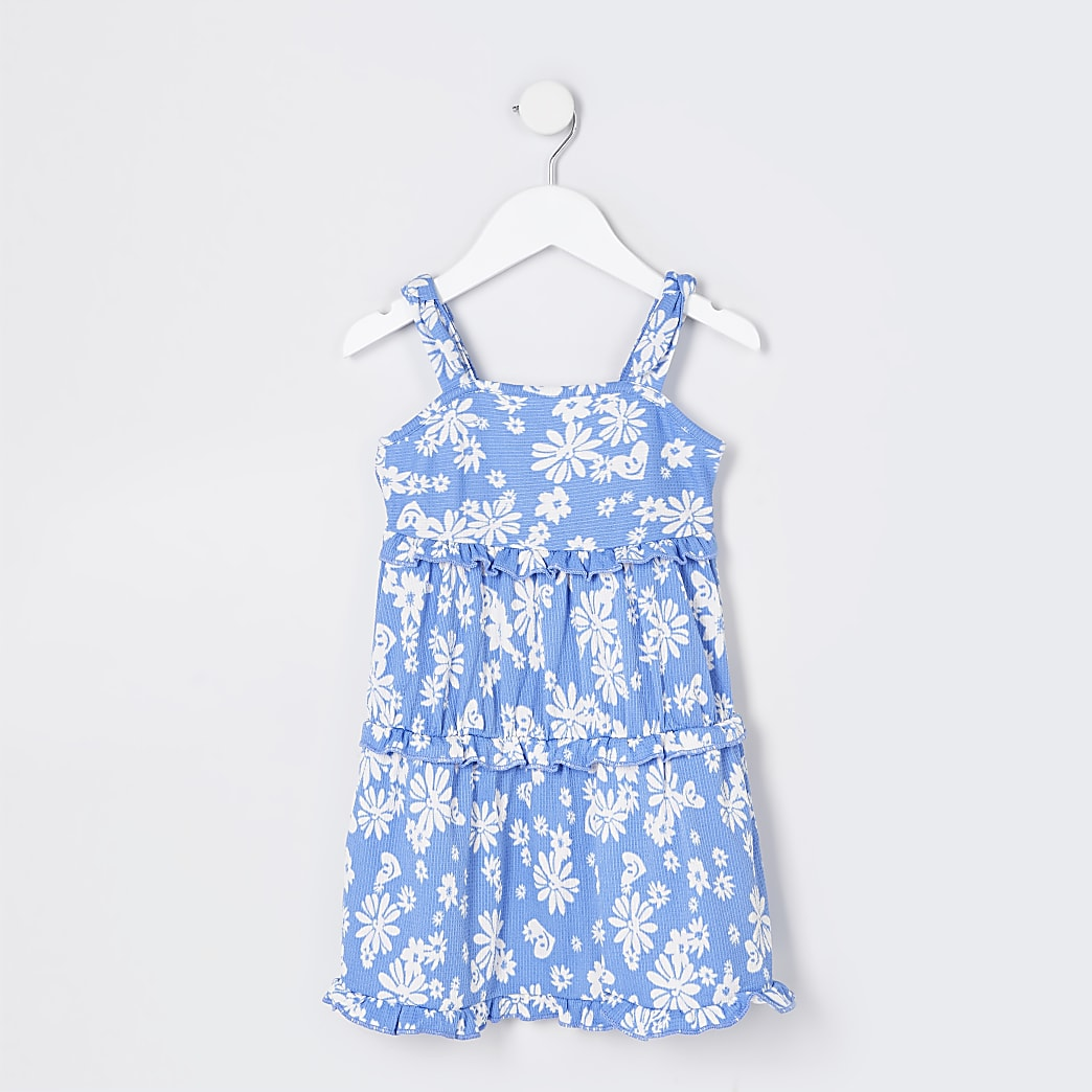 Mini girls blue floral tiered cami dress