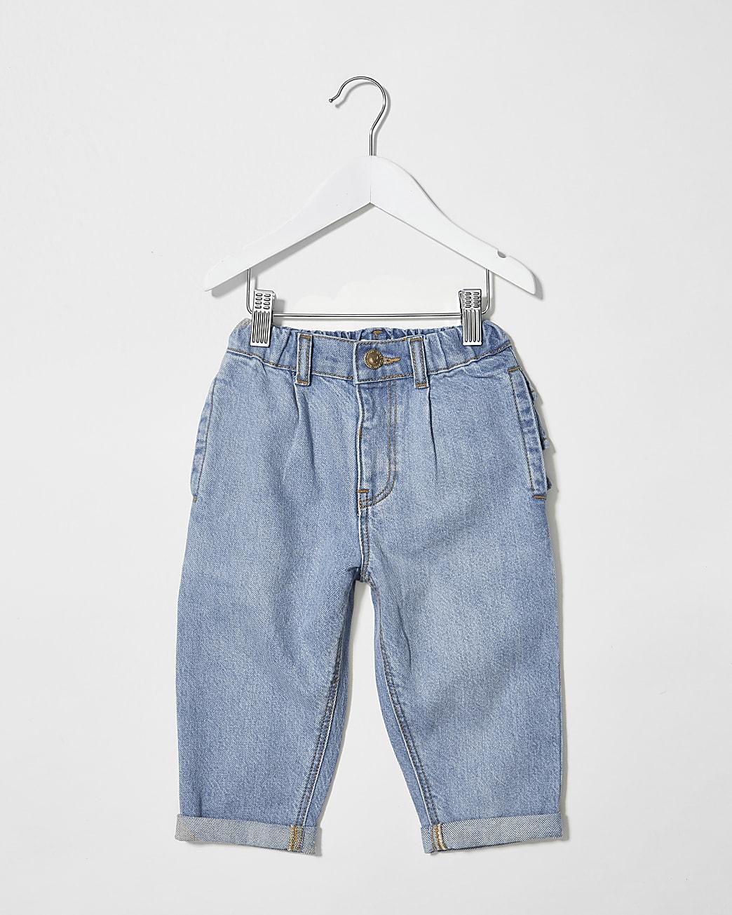 Mini girls blue frill bum jeans
