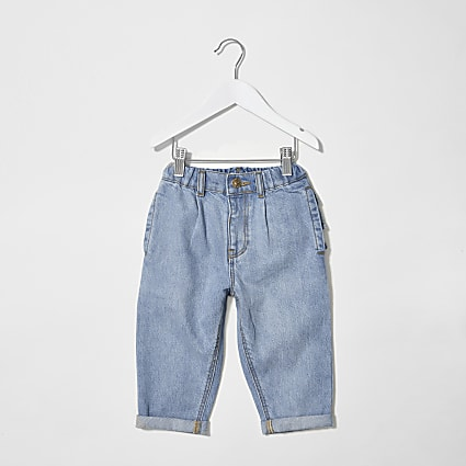 Mini girls blue frill bum jeans