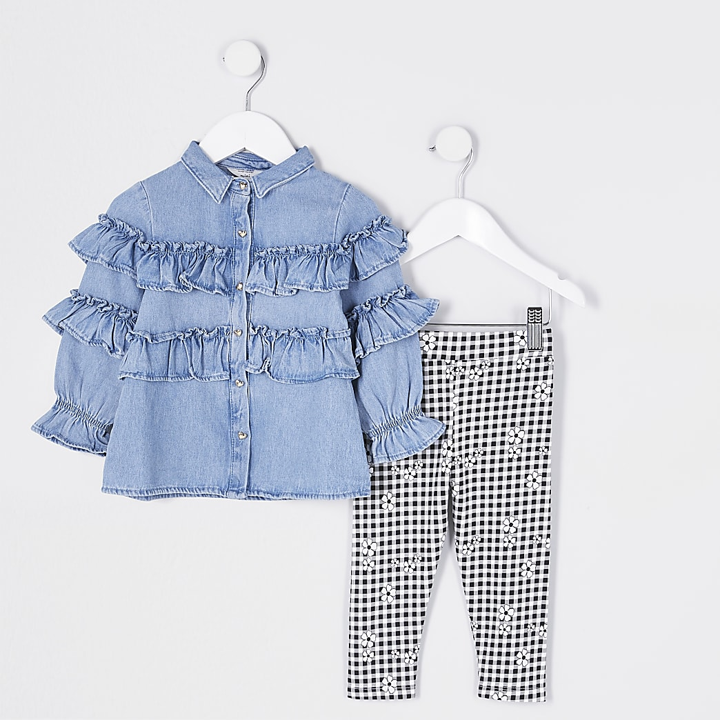 Mini girls blue frill check leggings outfit