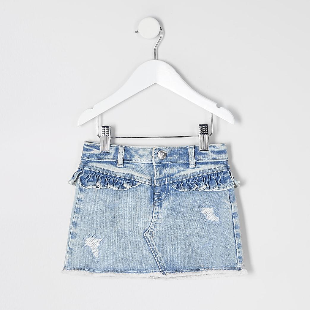 Mini - Blauwe denim rok met ruches voor meisjes