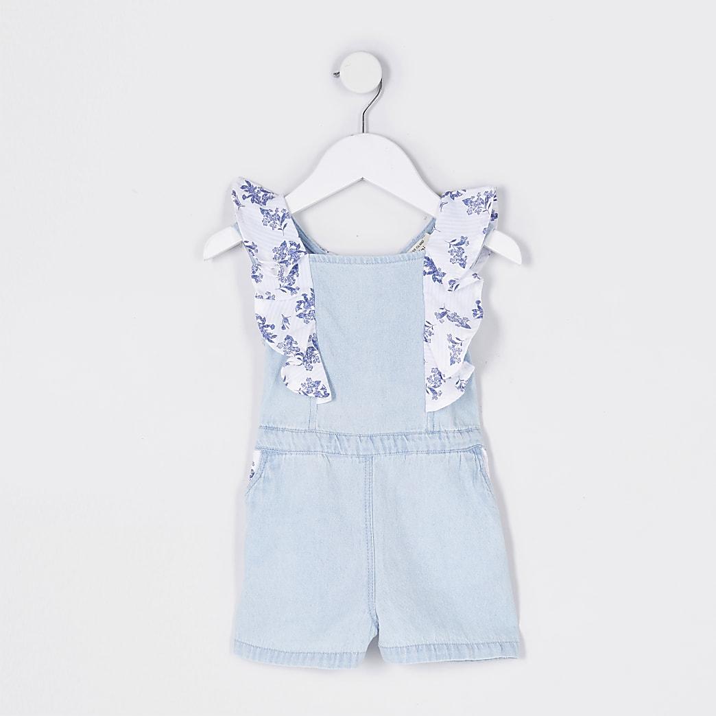 Mini girls blue frill denim playsuit