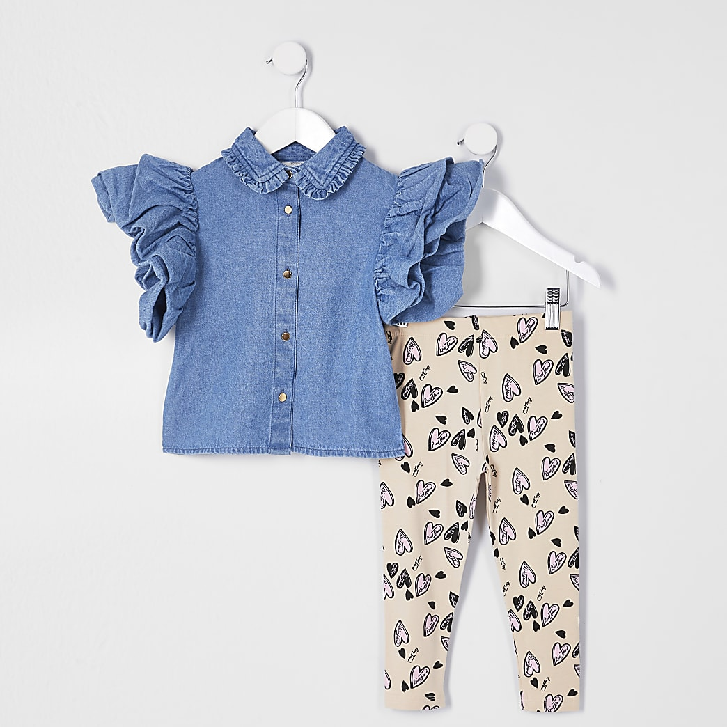 Mini girls blue frill denim shirt outfit