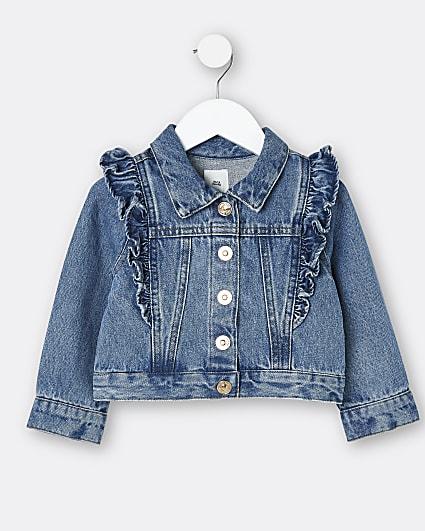 Mini girls blue frill detail denim jacket
