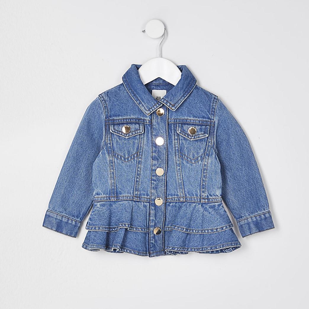 Mini girls blue frill hem denim jacket