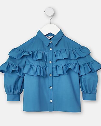 Mini girls blue frill poplin shirt