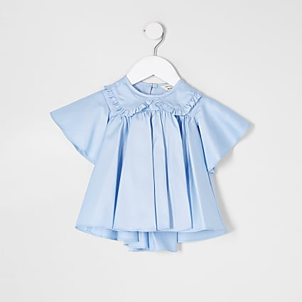 Mini girls blue frill poplin top