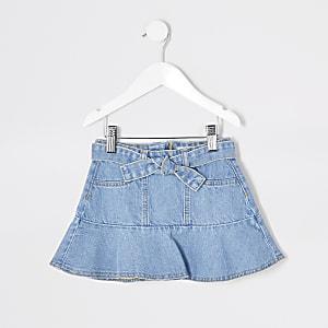 Mini - Blauwe denim rok met strikceintuur en ruches voor meisjes