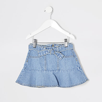 Mini girls blue frill tie belted denim skirt