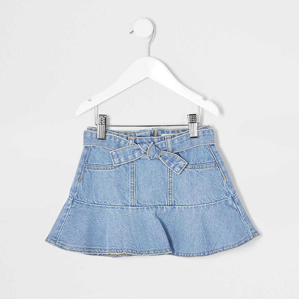 Mini girls blue frill tie belted denim skirt