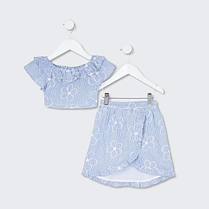 Mini girls blue frill top and skirt outfit