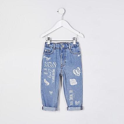 Mini girls blue graffiti mom jeans