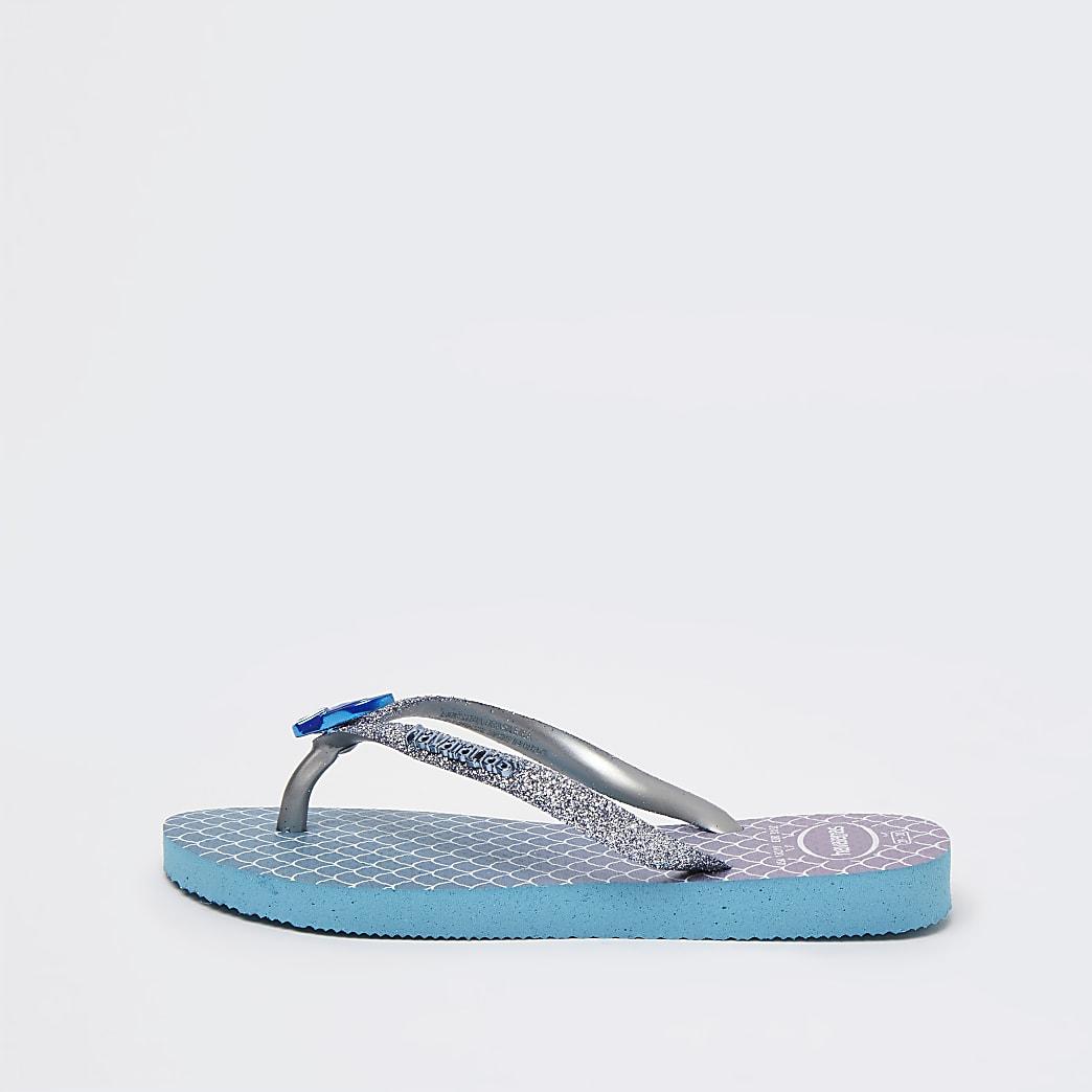 Mini girls blue Havaianas mermaids flip flops