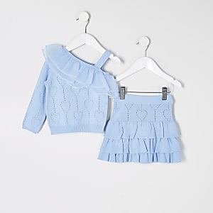 Mini girls blue knitted rara skirt outfit