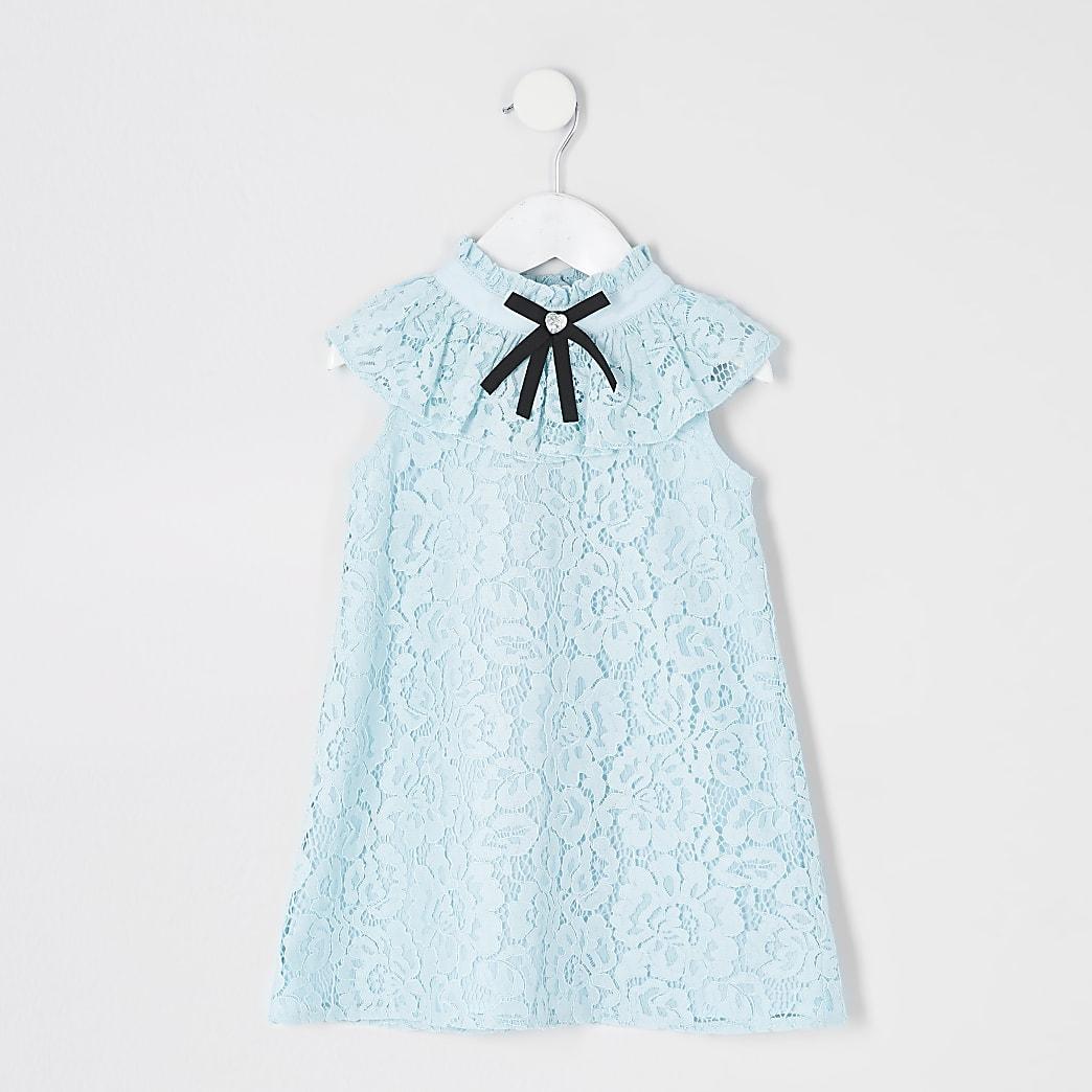 Mini - Blauwe kanten jurk met strik bij de hals voor meisjes