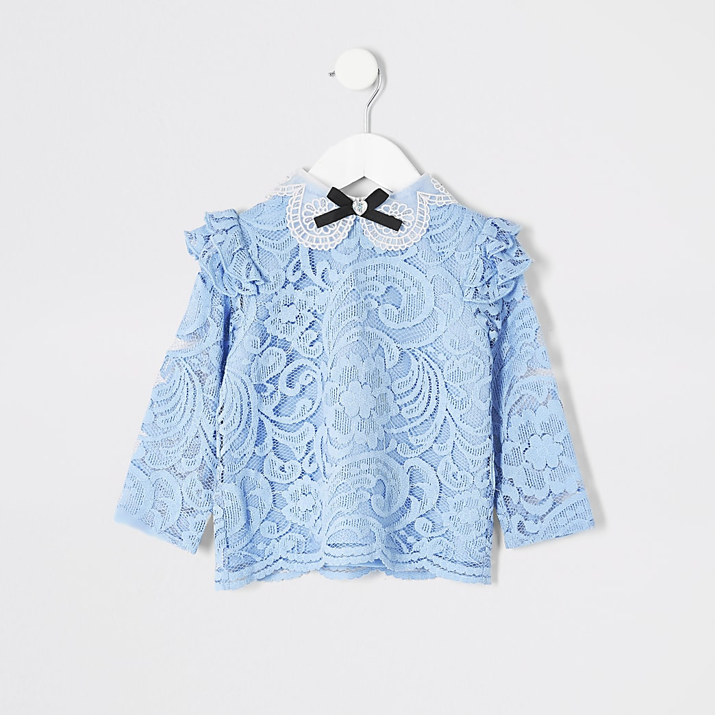Mini girls blue lace bow collar top