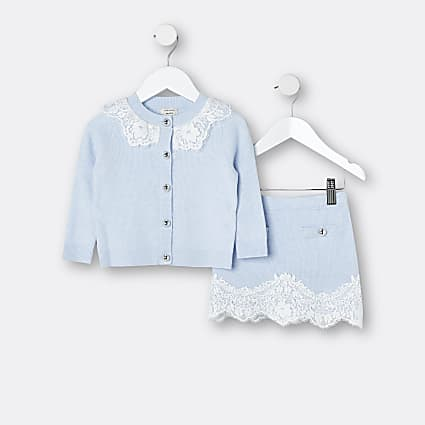Mini girls blue lace cardigan and skirt set
