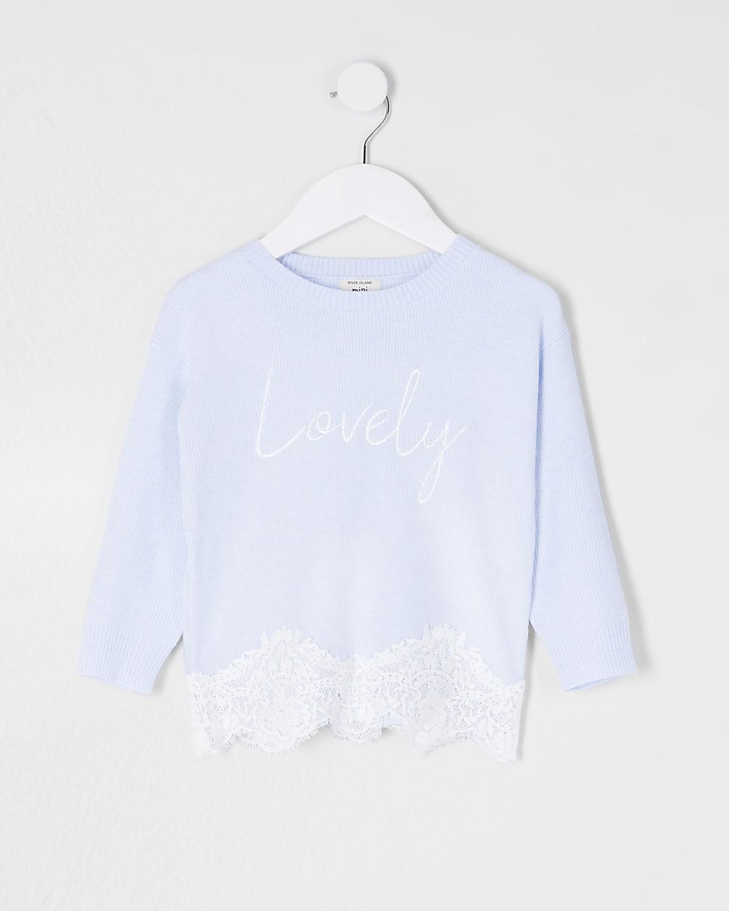 Mini girls blue lace hem jumper
