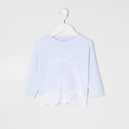 Mini girls blue lace hem jumper