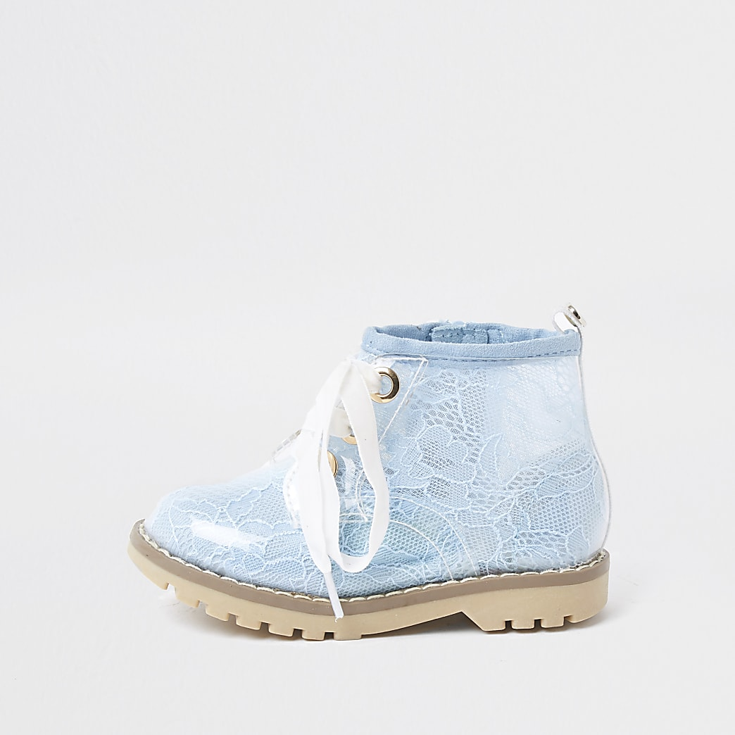 Mini girls blue lace hiker ankle boots