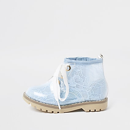 Mini girls blue lace hiker boots