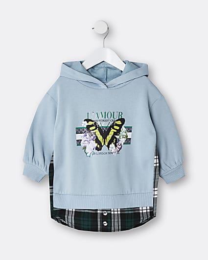 Mini girls blue 'L'amour' shirt sweat dress
