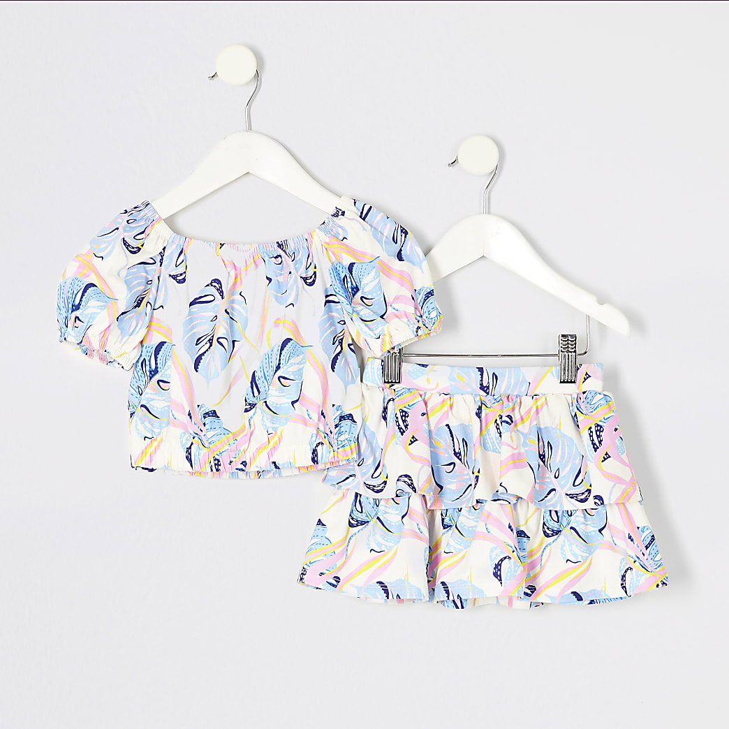 Mini girls blue leaf printed crop top outfit