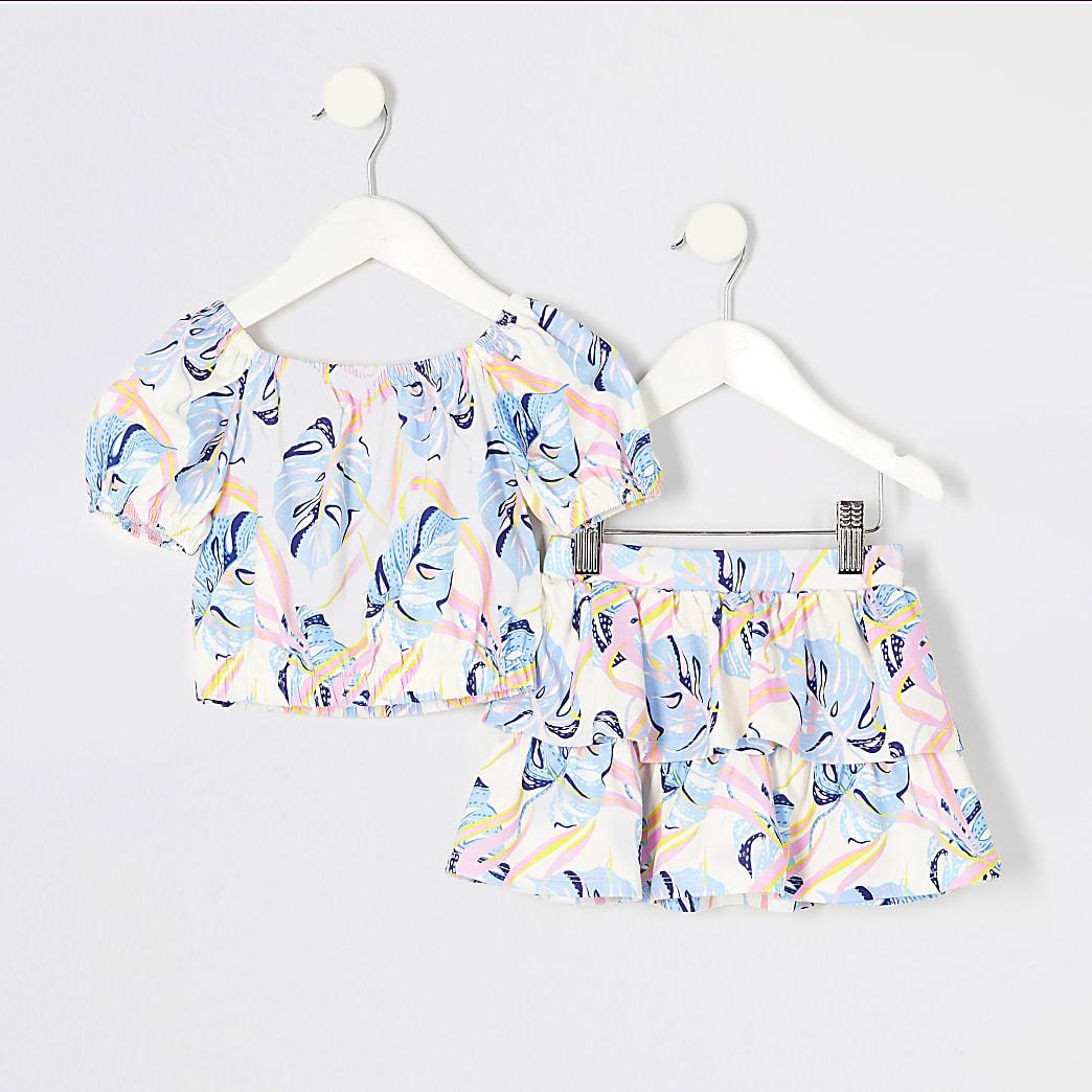 Mini - Blauwe outfit met crop top met bladeren-print