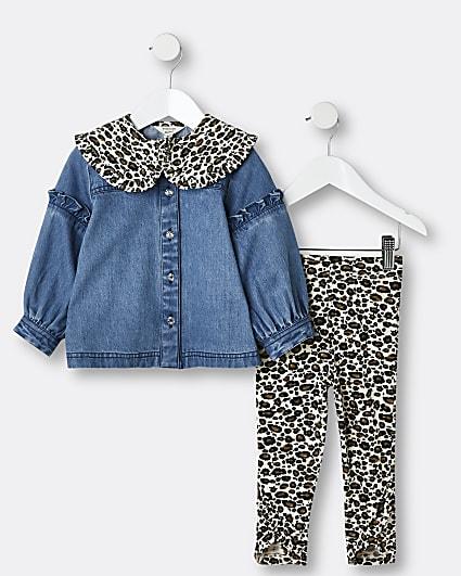 Mini girls blue leopard top and leggings set