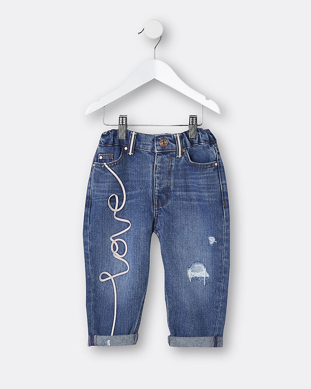 Mini girls blue 'Love' mom jeans