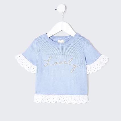 Mini girls blue lovely broderie detail top