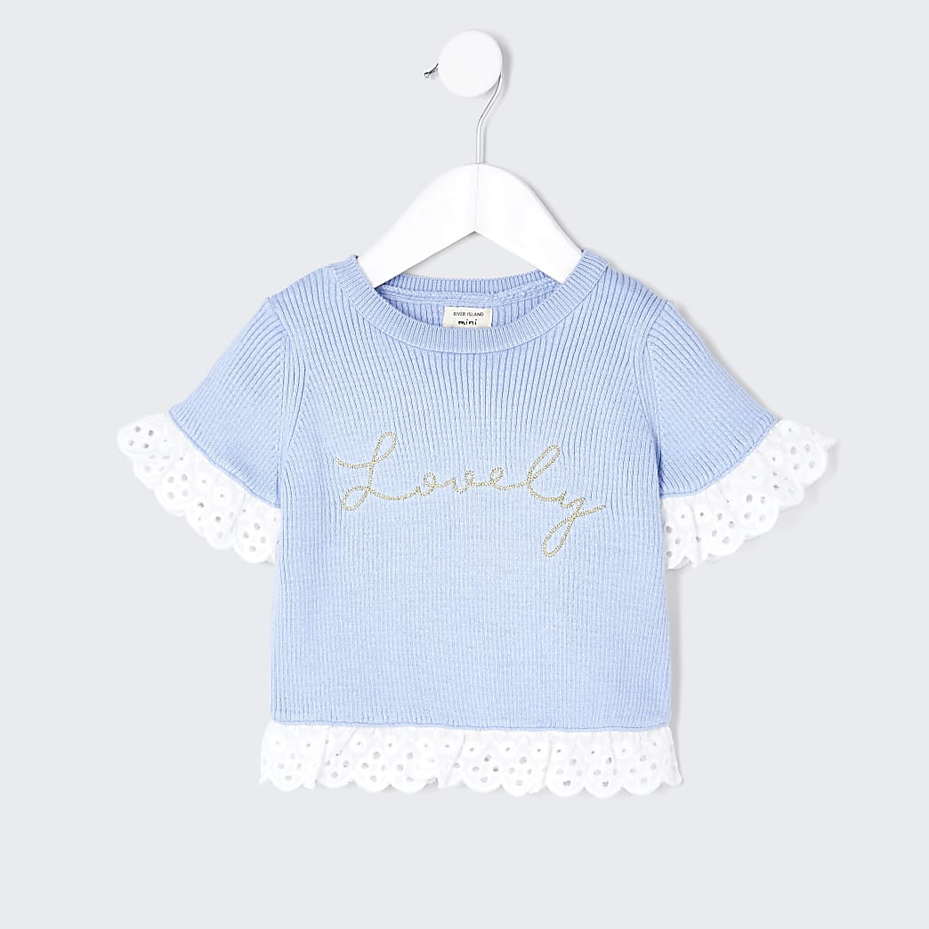 Mini girls blue lovely broderie detail top