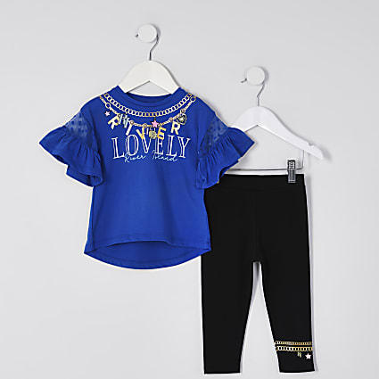 Mini girls blue 'Lovely' t-shirt outfit
