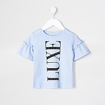 Mini girls blue 'Luxe' print t-shirt