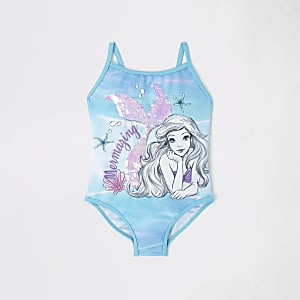 Mini girls blue mermaid sequin swimsuit