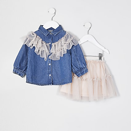 Mini girls blue mesh frill shirt outfit