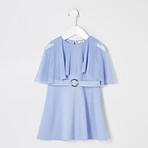 Mini girls blue mesh frill skater dress